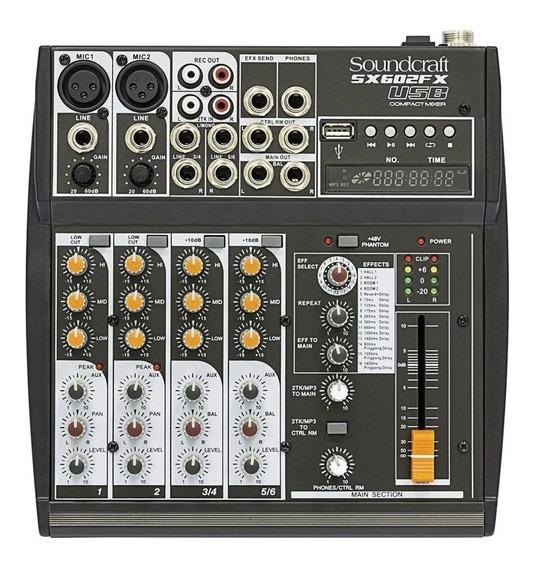 Mesa De Som Soundcraft Sx602 Fx Usb 6 Canais Bivolt Sx602fx