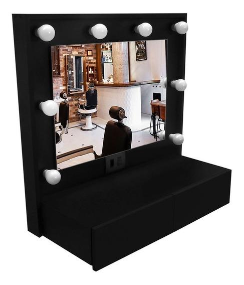 Penteadeira Camarim Preta Mdf Completa, Com Espelho
