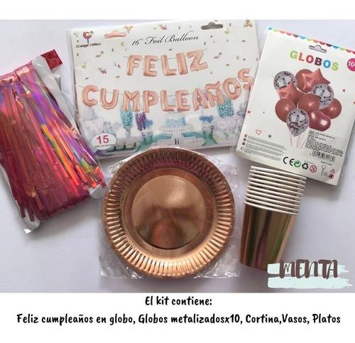 Kit De Decoracion Cumpleaños Oro Rosa Celebración