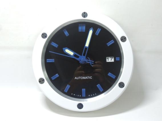 Relógio De Parede Grande Aço Inox Calendário Hublot