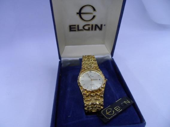 Relógio Elgin Folhado A Ouro De Pulso Análogo Data