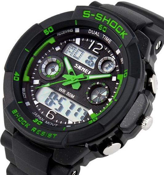 Relógio Skmei Original Modelo 0931 Masculino Anadigi Verde