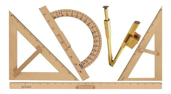 Kit Geométrico Prof. Mdf/pinus C/ Régua 1m Comp. P/ Qdo Bco