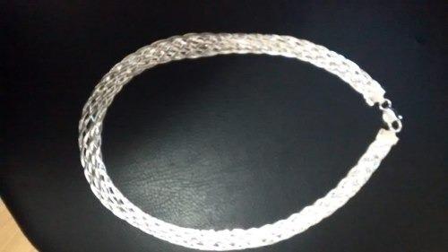 Corrente Prata 925 Trança Com 40 Cm