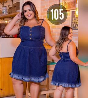 Vestido Feminino Jeans Lycra Plus Size Luxo - Ref. 13