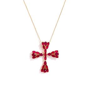 Colar Feminino Cruz Zircônia Vermelha Banhado A Ouro 18k