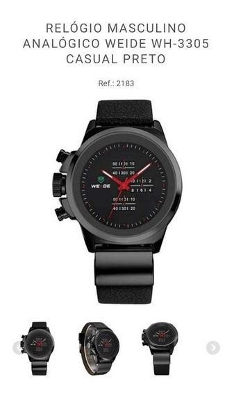 Relógio Masculino Weide Wh3305 Casual Preto