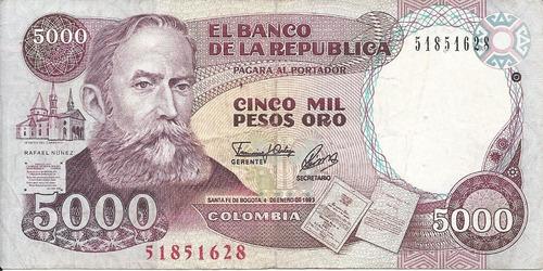 Imagen 1 de 2 de Colombia 5000 Pesos 4 Enero 1993