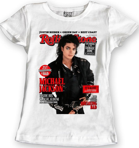 Imagen 1 de 2 de Michael Jackson Rolling Stone Blusa Dama Rott Wear