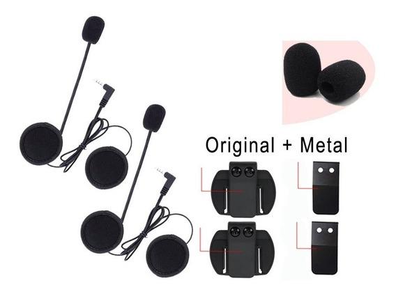 2 Kit Fones Com 2 Clip Metal P/ Comunicador V6 + Espumas