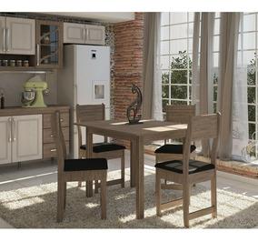 Conjunto Mesa De Jantar Dallas Com 4 Cadeiras Em Mdp Indeke