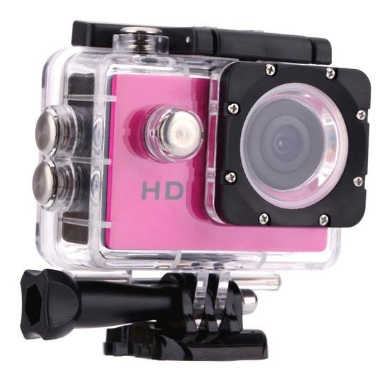 Câmera Ação Hero Full Hd 1080p Zoom 4x 60 Fps Rosa Tj-4000