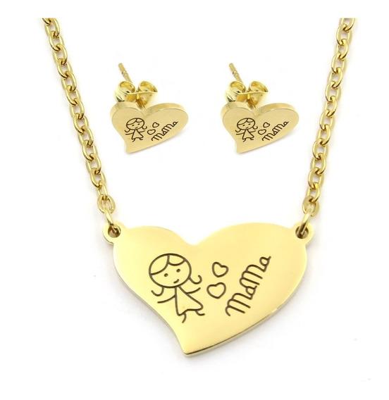 Set Joyeria Acero Dorado Collar Aretes Corazón Mamá Hija