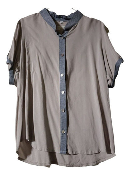 Camisa De Fibrana,mangas Cortas,cuello Mao T. 6 - Lorna