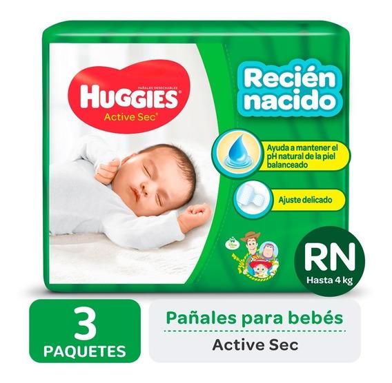 Pañales Huggies Active Sec P Y Recien Nacido Pack X 3