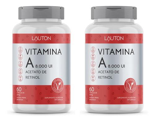 Imagem 1 de 2 de Vitamina A 8.000 Ui - 60 Cápsulas - Lauton Nutrition (2 Un)