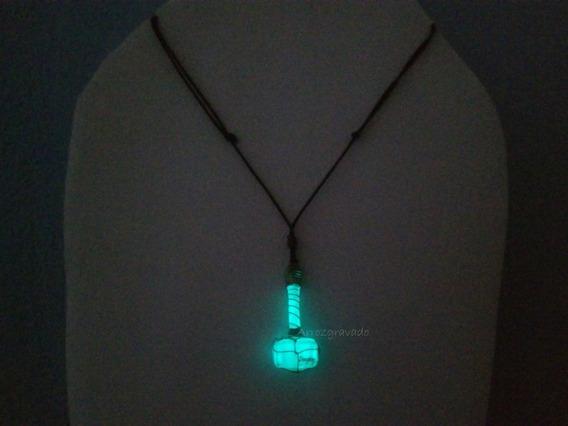 Colar Martelo Thor,mjolnir Florescente,escrito,brilha Escuro