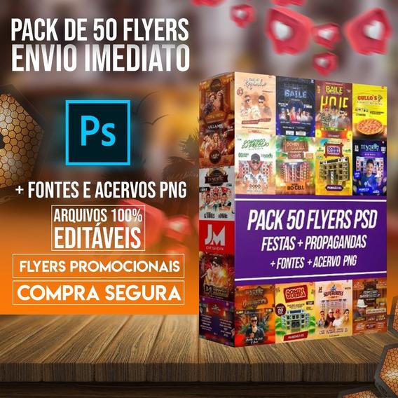 Pack De 50 Flyers Editáveis + Fontes + Acervo Png