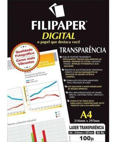 Transparência Jato De Tinta A4 Tarja 50 Fls 02603 Filipaper