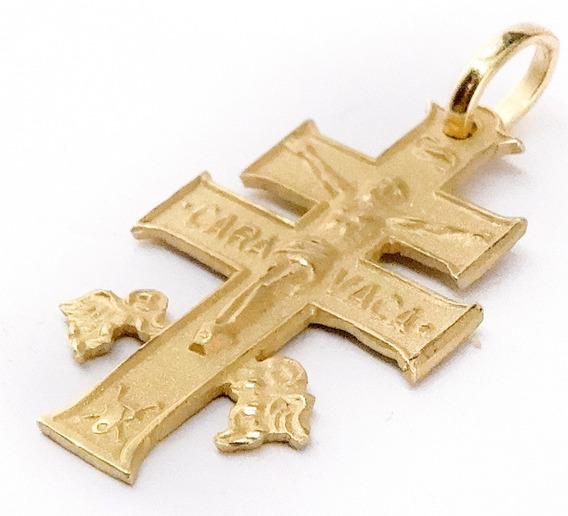 Dije Cruz Caravaca Oro 18 K 25 Mm Doble Faz Garantía Escrita