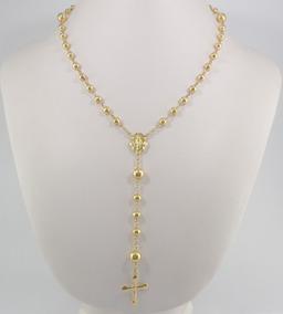 Terço Completo Cordão Corrente Crucifixo 65cm Ouro 18k 750