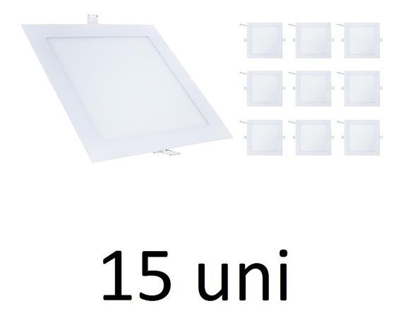 Kit 15 Painel Plafon Led Quadrado Branco Frio Embutir 18w