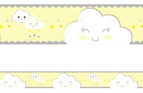 6 Faixa Decorativa Adesivo Border Nuvem Rostinho Chuva Amor