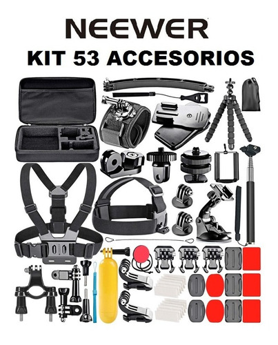 Kit 50 Accesorios Neewer Para Cámara Gopro Hero7 Hero8 Hero9