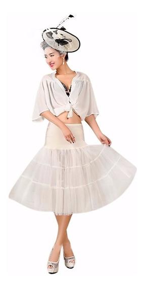 Falso Enagua Blanco Vestido Pin Up Años 50