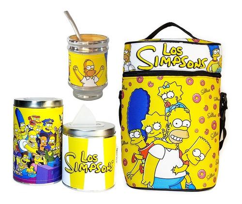 Imagen 1 de 5 de Equipo De Mate Sin Termo Los Simpsons Cuero Set Kit Matero