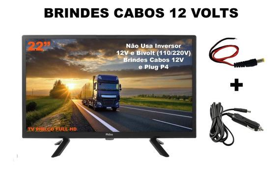 Tv 22 Philco Led Hd Caminhão Ônibus Trailer Van 12v Portatil