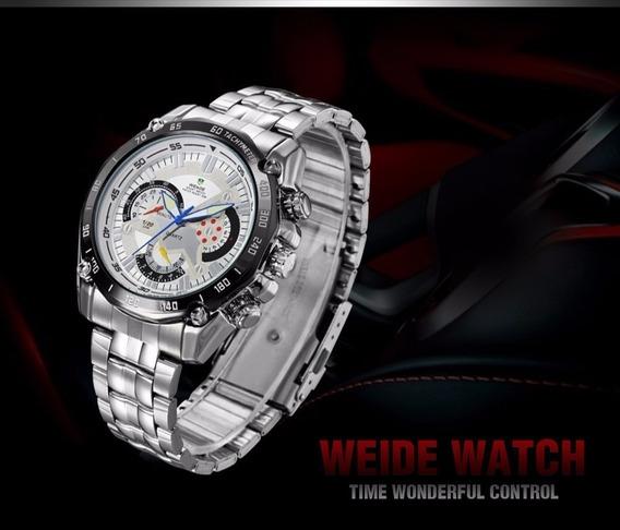 Relógio Weide Aço Prata Masculino Original - Promoção !!!