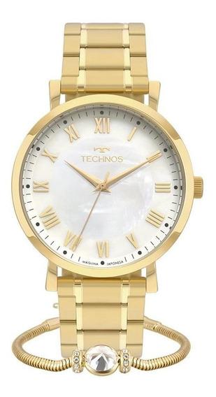 Relógio Technos Feminino 2035mqz/k4b Dourado + Gargantilha