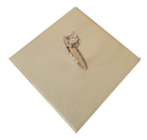 Anel Solitário Zircônia Em Ouro Branco 18k 3g