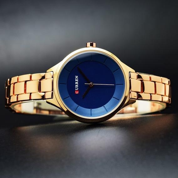 Relógio Curren Feminino Dourado Com Tela Azul