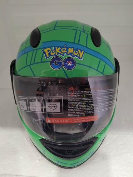 Capacete Infantil Pokémon Verde Tamanho 49 A 52