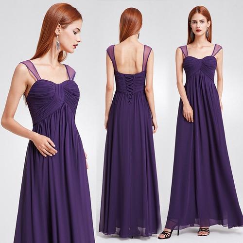 Vestido Fiesta Egresadas Largo Gasa Violeta Importado