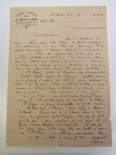 Antiga Carta Manuscrita  Papel Do Hotel D'oeste Em São Paulo