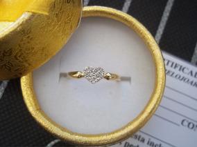 Anel Coração Cravejado De Pedras Brancas Ouro 12k