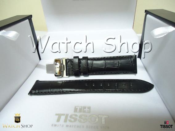 Pulseira De Couro Tissot Prc 200 T17 19mm Preta Original