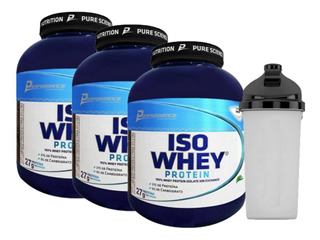 3x Iso Whey Protein 2kg Performance Nutrition + Coqueteleira