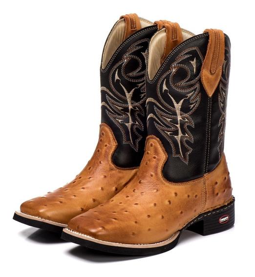 Bota Country Texana 100% Couro Legítimo Masculina Avestruz