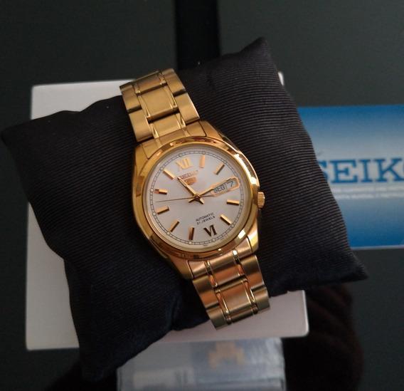 Relógio Seiko 5 Snkk84k1 Automático Dourado Original