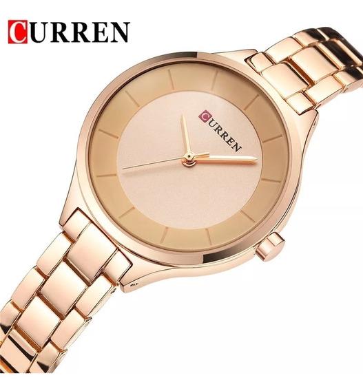 Relógio Feminino Curren 9015 Gold Rosé.