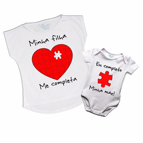 Kit 2 Camisetas Tal Mãe Tal Filha Minha Filha Me Completa Ve