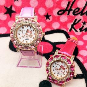 Relógio Infantil E Feminino Hello Kitty Quartzo Couro
