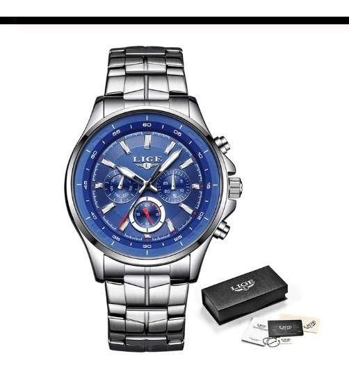 Relógio Masculino Lige Azul Luxo A Prova D