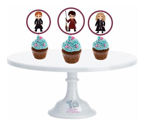 Imagen 1 de 7 de Harry Potter Cupcake Toppers Adorno Para Muffins X10