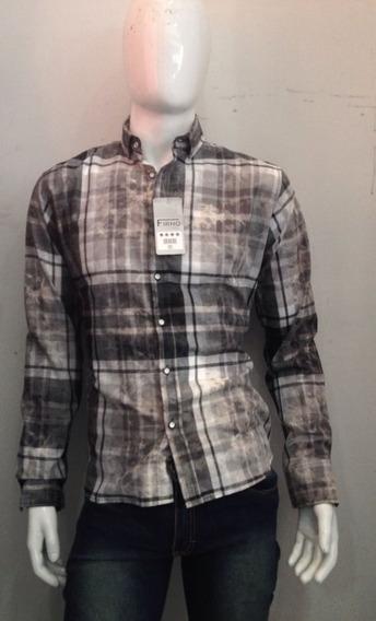 Camisa Cafe Cuadros Corte Slim Fit