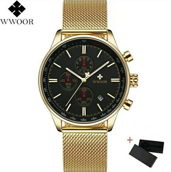 Relógio Masculino Social Luxo Wwoor 8862 Pulseira Aço Inox!
